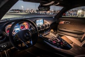 Pressefahrveranstaltung Mercedes-AMG GT S, Laguna Seca, Nov 2014, brillantblau, Leder Exklusiv Nappa maron/schwarz